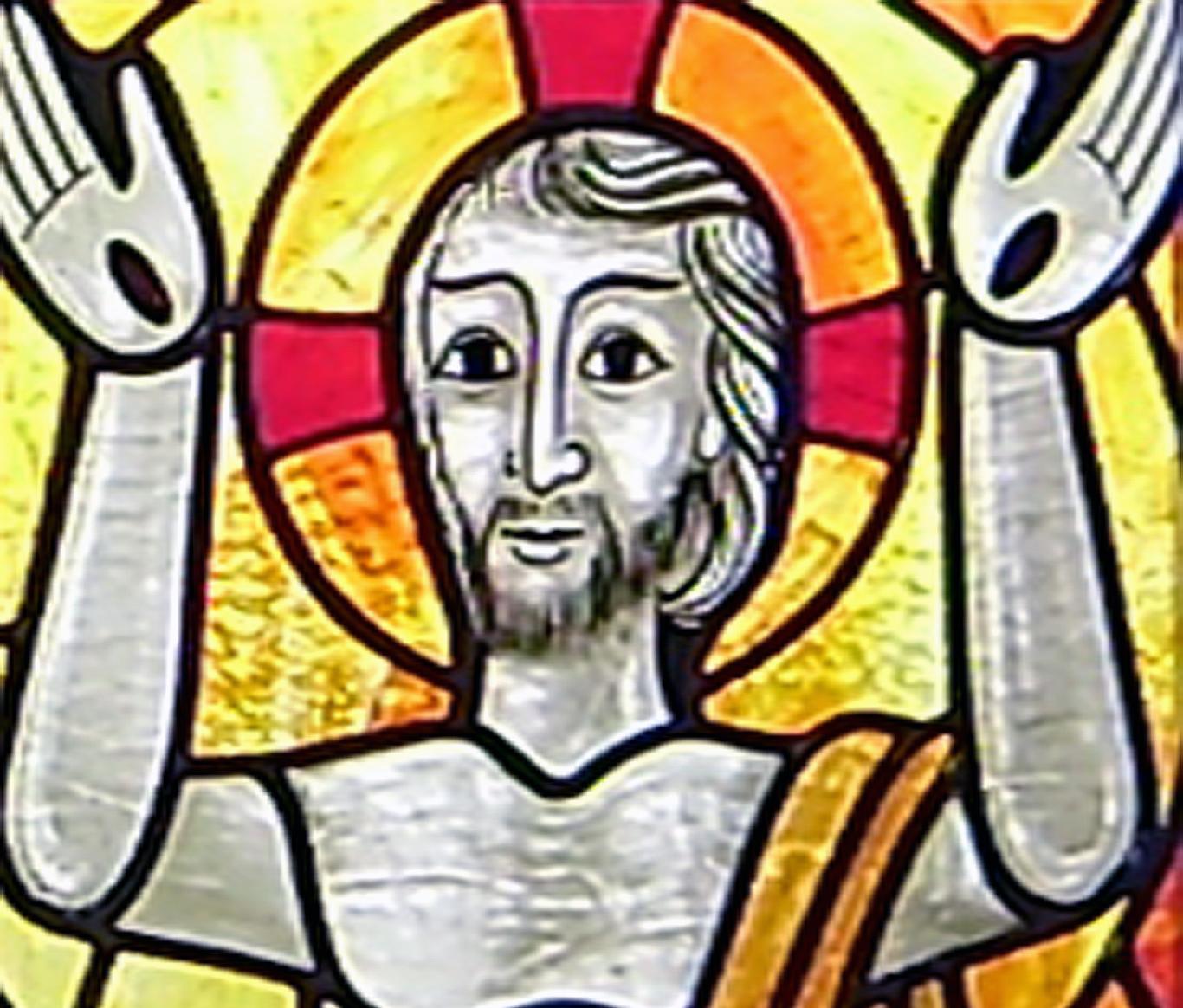 Der Auferstandene - Glasbild aus der Pestkapelle Stiefenhofen